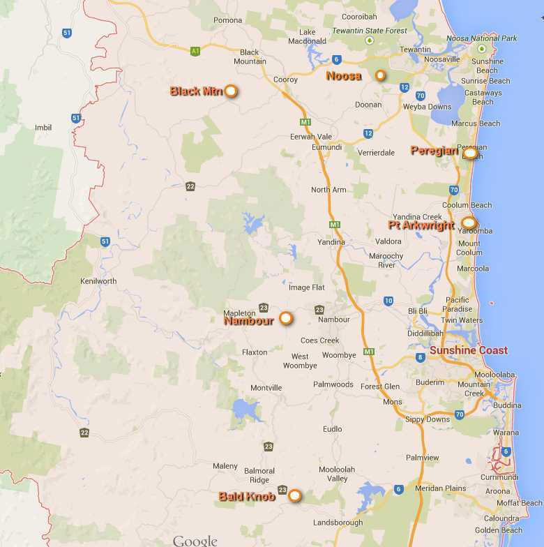 TV Transmitters Towers Locations on the Sunshine Coast